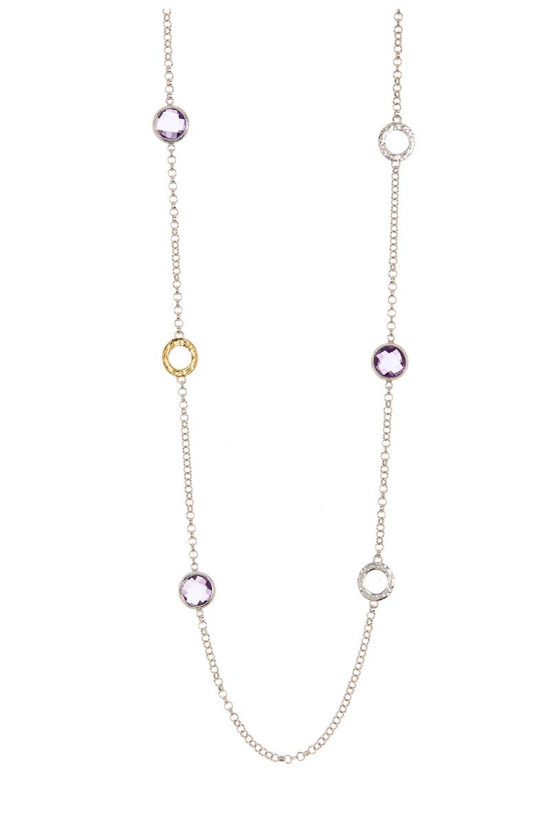 GURHAN 24K Gold Plated Sterling Silver Long Station Necklace, Main, color, SILVER