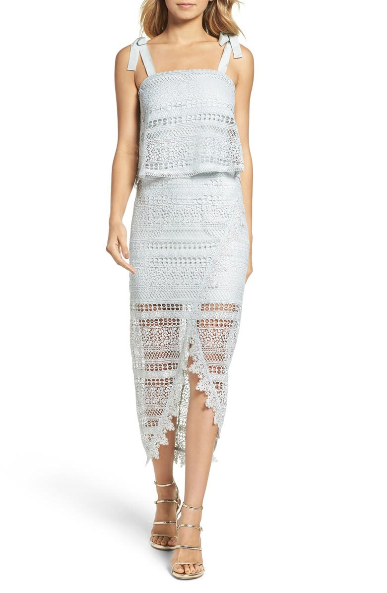 FOXIEDOX Lace High/Low Dress, Main, color, 400