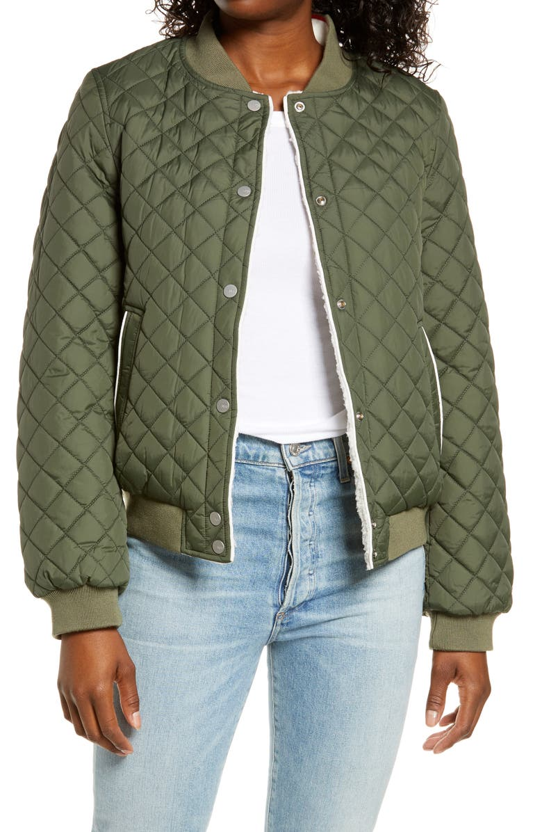 UGG<SUP>®</SUP> Reversible Quilted & Faux Shearling Bomber Jacket, Main, color, OLIVE / CREAM