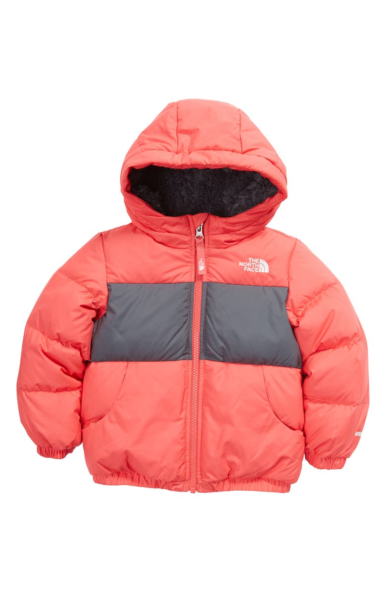 THE NORTH FACE Kids' Moondoggy 500 Fill Power Down Hooded Jacket, Main, color, PARADISE PINK