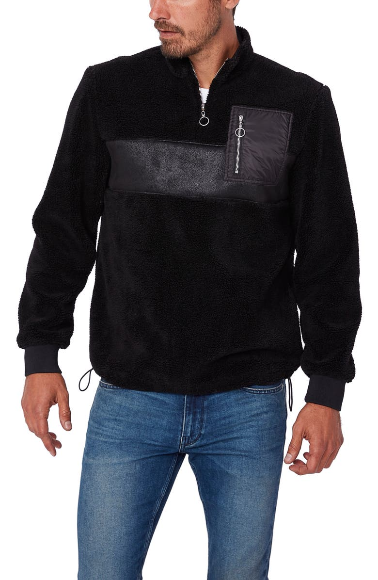 PAIGE Hartson Quarter-Zip Pullover, Main, color, Black