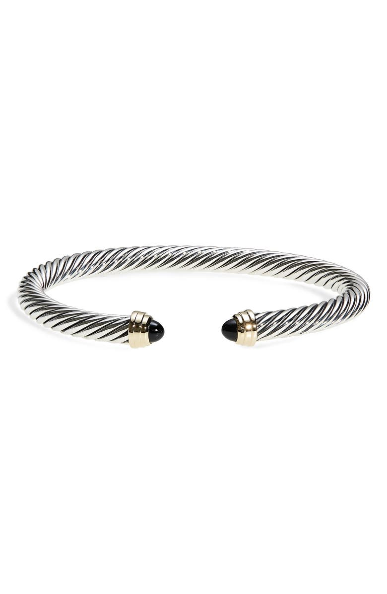 DAVID YURMAN Cable Classics Bracelet with Semiprecious Stones & 14K Gold, 5mm, Main, color, BLACK ONYX