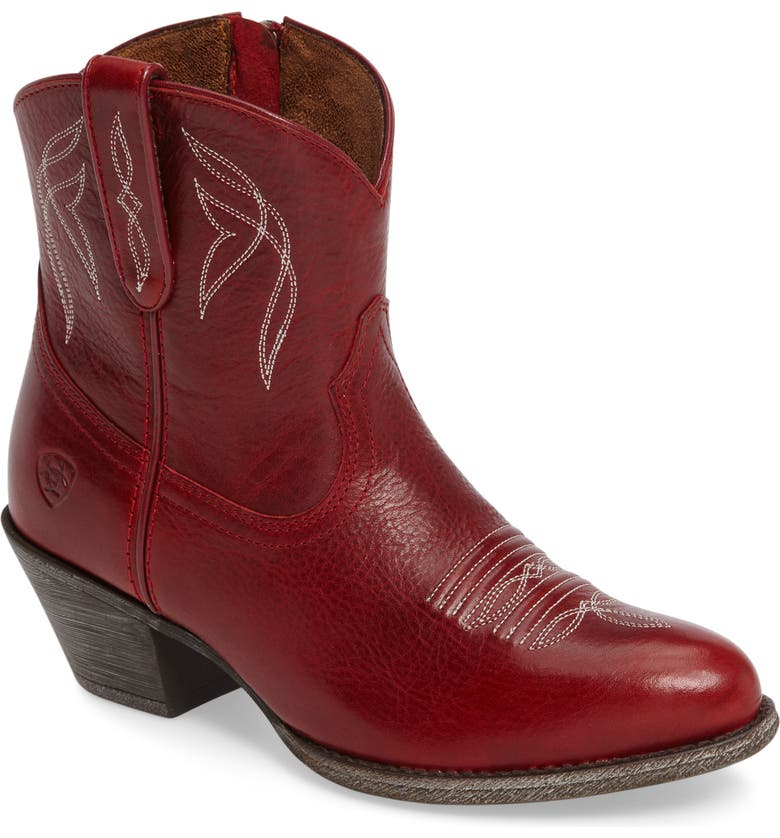 ARIAT Darlin Short Western Boot, Main, color, ROSY RED LEATHER