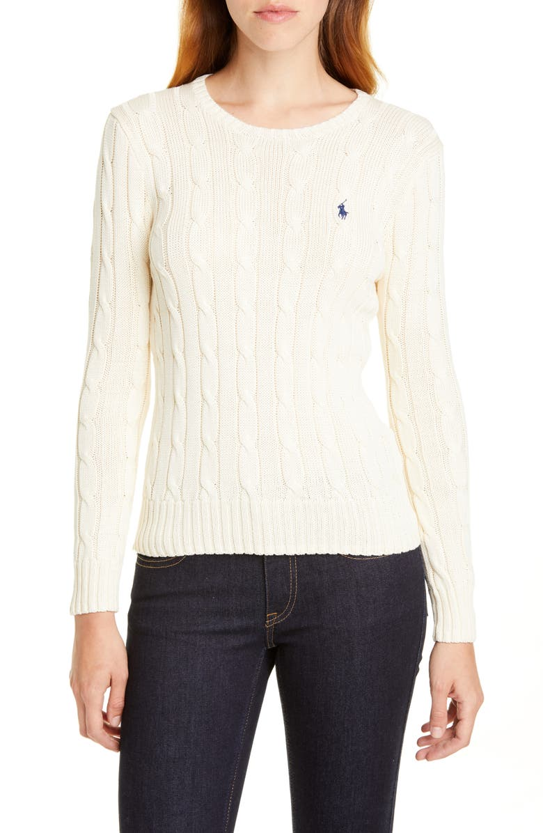 POLO RALPH LAUREN Cable Knit Sweater, Main, color, CREAM