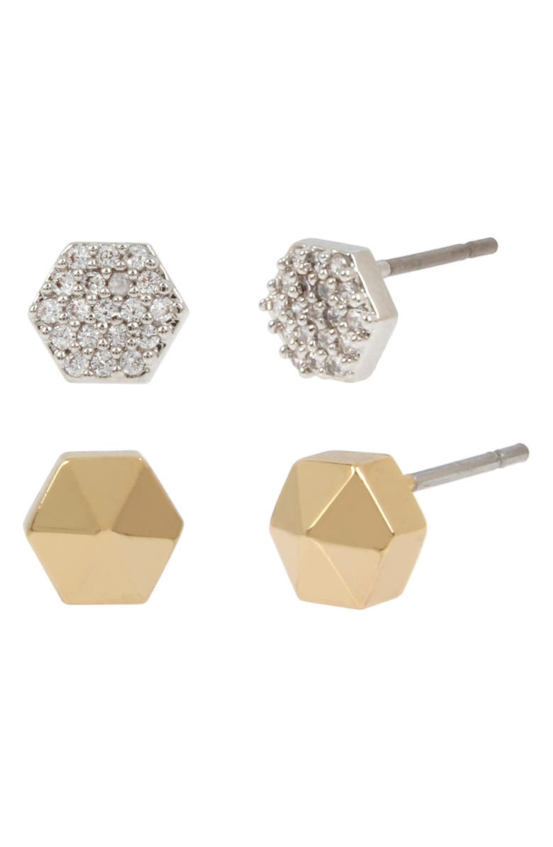 ALLSAINTS Set of 2 Hex Stud Earrings, Main, color, 710