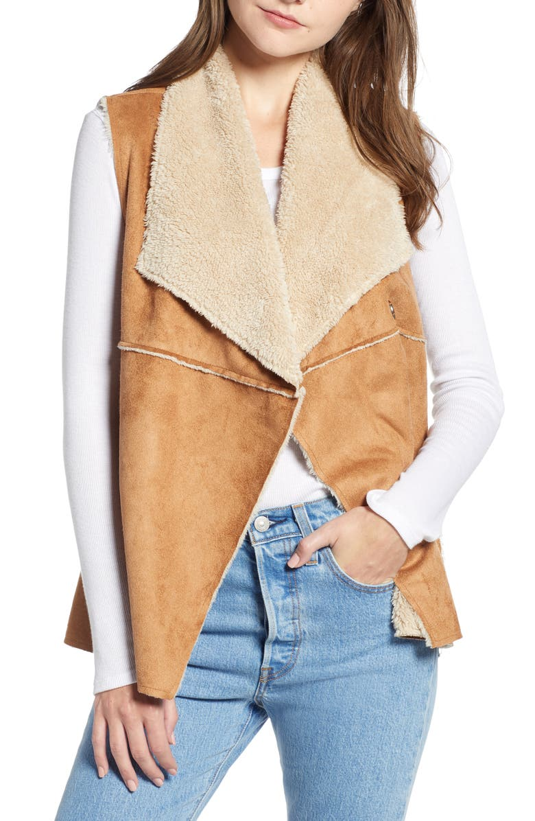 DYLAN Madison Faux Shearling Vest, Main, color, SADDLE/ OATMEAL