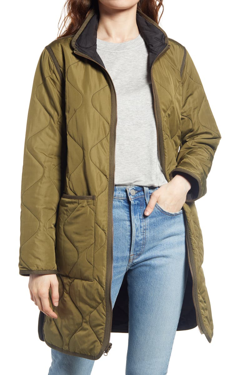 THREAD & SUPPLY Nixie Reversible Quilted Jacket, Main, color, BLACK GREEN