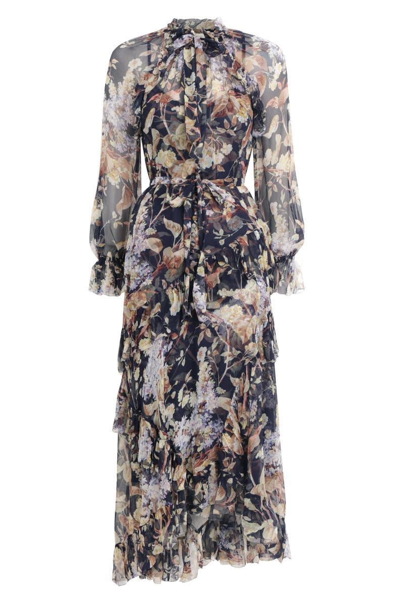ZIMMERMANN Sabotage Ruffle Floral Print Silk Long Sleeve Midi Dress, Main, color, 001