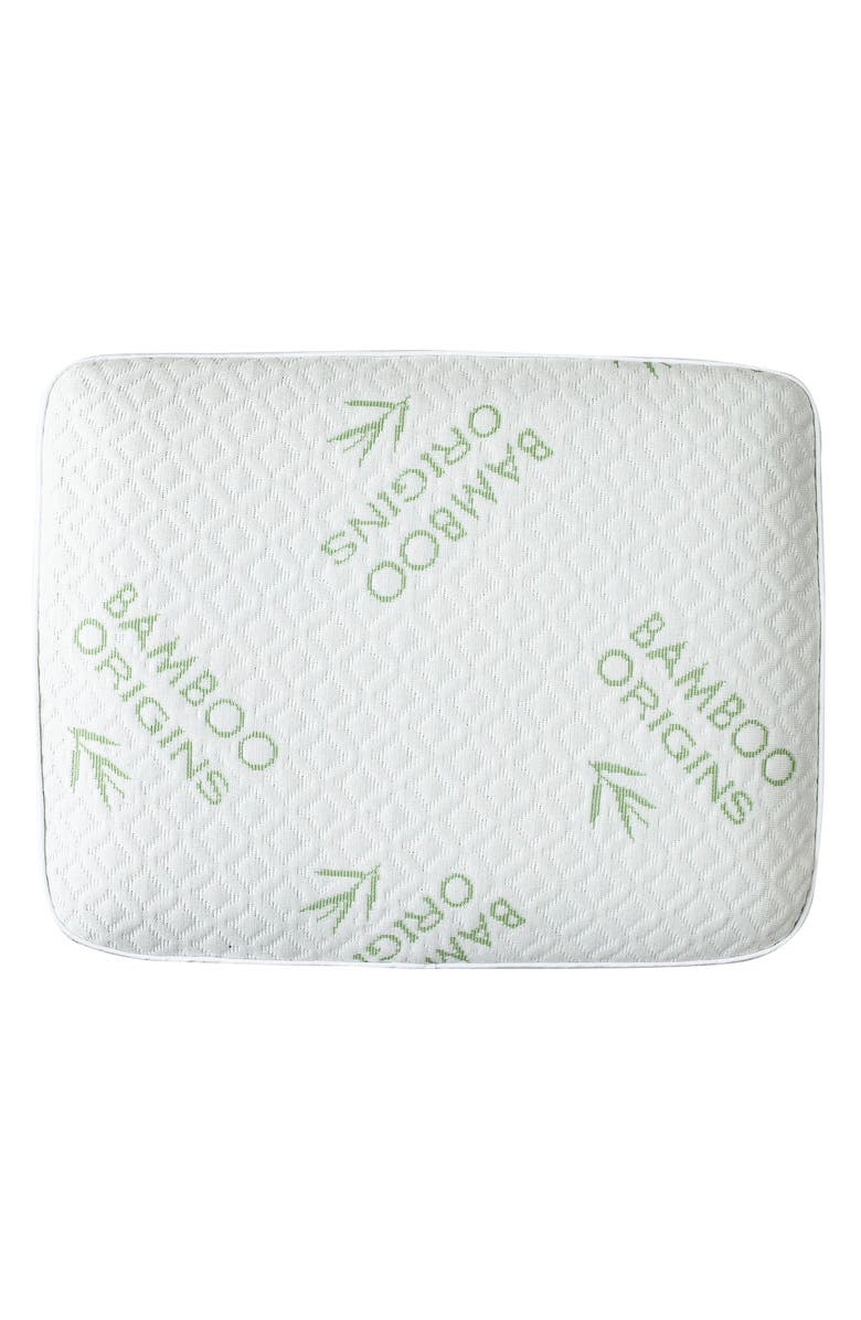 PUR SERENITY Rayon from Bamboo Origins Memory Foam Square Pillow, Main, color, IVORY GREEN