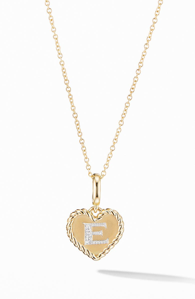 DAVID YURMAN Initial Heart Charm Necklace in 18K Yellow Gold with Pavé Diamonds, Main, color, 712
