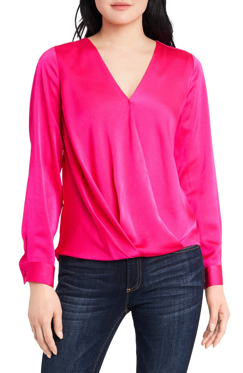 VINCE CAMUTO Wrap Front Long Sleeve Hammer Satin Blouse, Main, color, LEGACY PINK