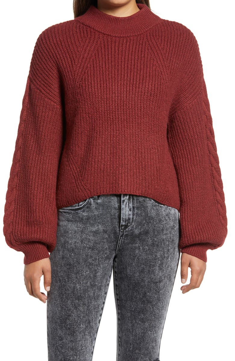 BP. Cable Knit Balloon Sleeve Sweater, Main, color, RED POMEGRANATE