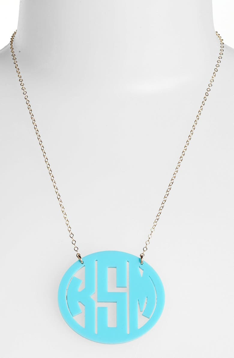 MOON AND LOLA Large Oval Personalized Monogram Pendant Necklace, Main, color, ROBINS EGG/ GOLD