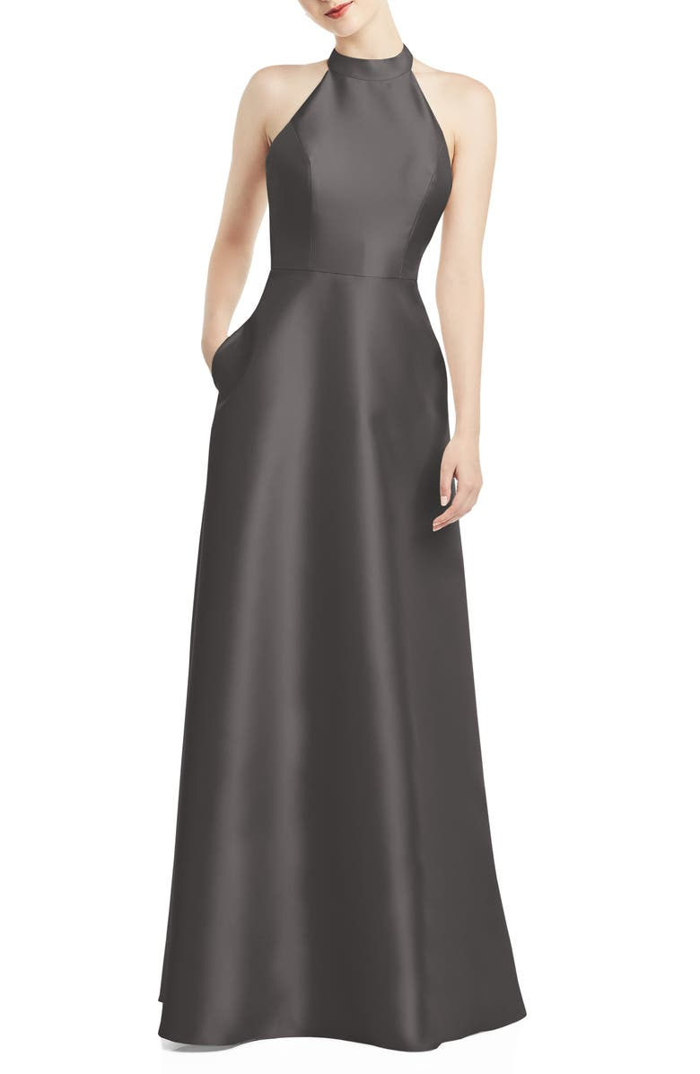 ALFRED SUNG Halter Style Satin Twill A-Line Gown, Main, color, CAVIAR