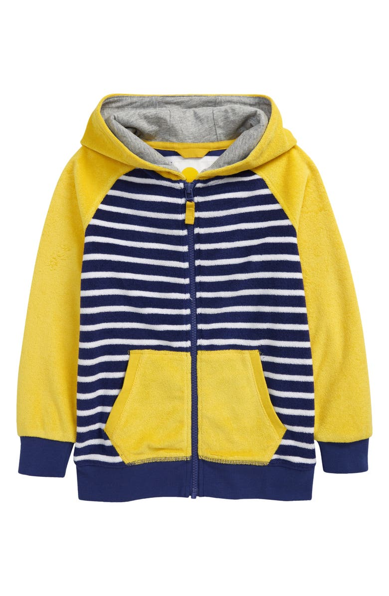 MINI BODEN Kids' Towelling Front Zip Hoodie, Main, color, DAFFODIL YELLOW/ STARBOARD