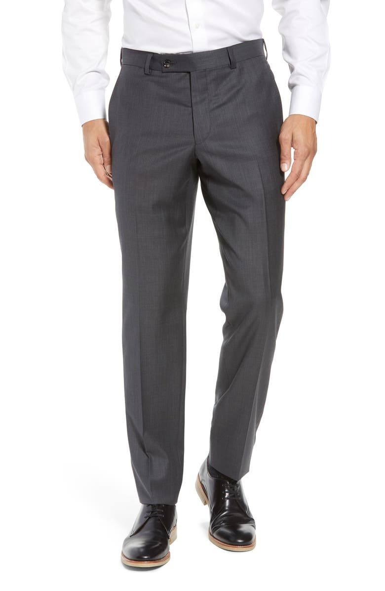 TED BAKER LONDON Jefferson Flat Front Wool Dress Pants, Main, color, MID GREY