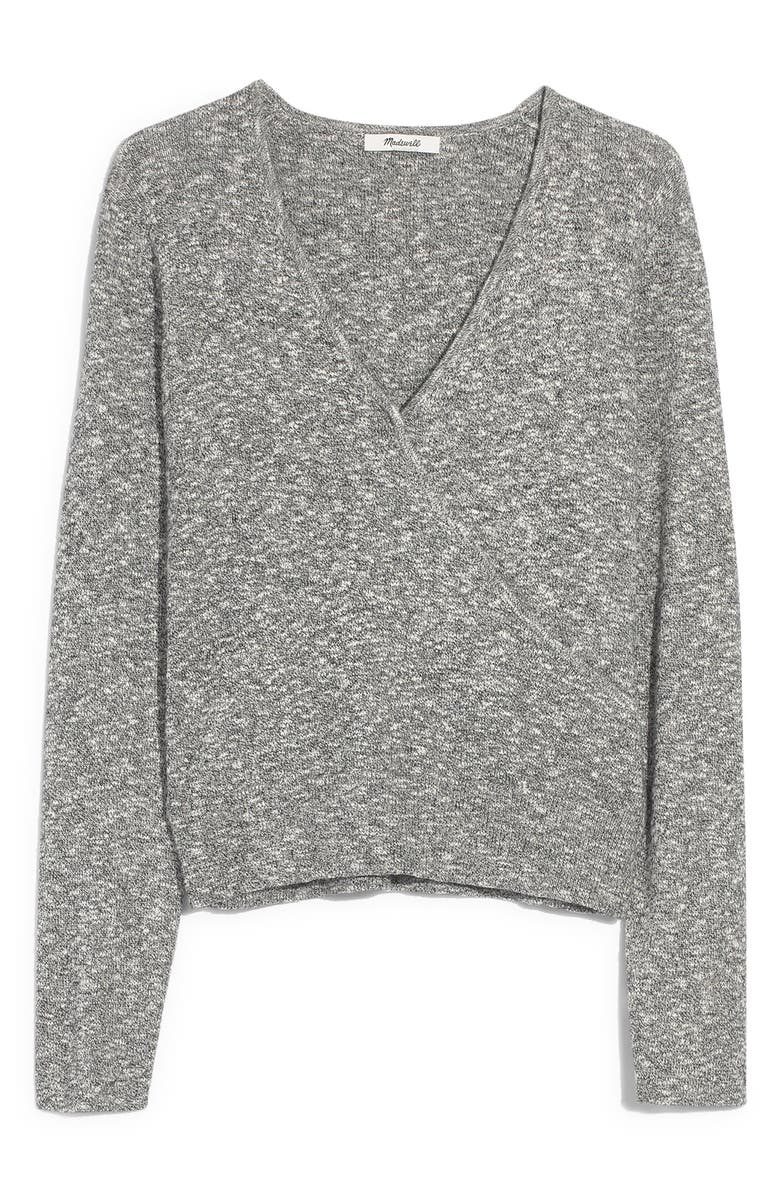 MADEWELL Wrap Front Pullover Sweater, Main, color, MARLED SHADOW