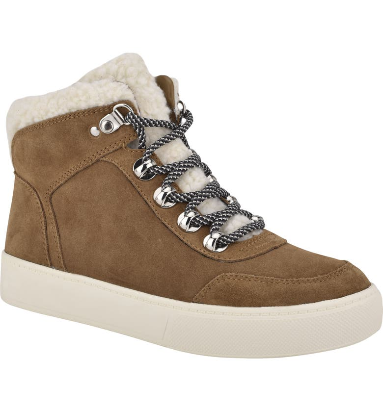 MARC FISHER LTD Summa High Top Sneaker, Main, color, LIGHT COGNAC/ NATURAL SUEDE