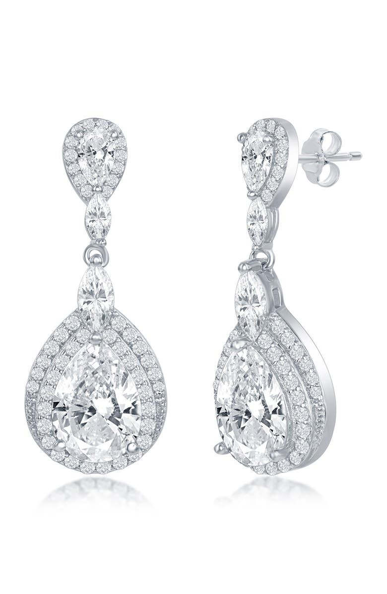 SIMONA Sterling Silver Double Pear Shaped CZ Drop Earrings, Main, color, SILVER