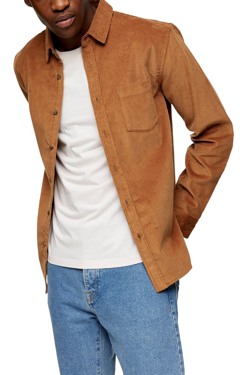 TOPMAN Solid Corduroy Button-Up Shirt, Main, color, BROWN