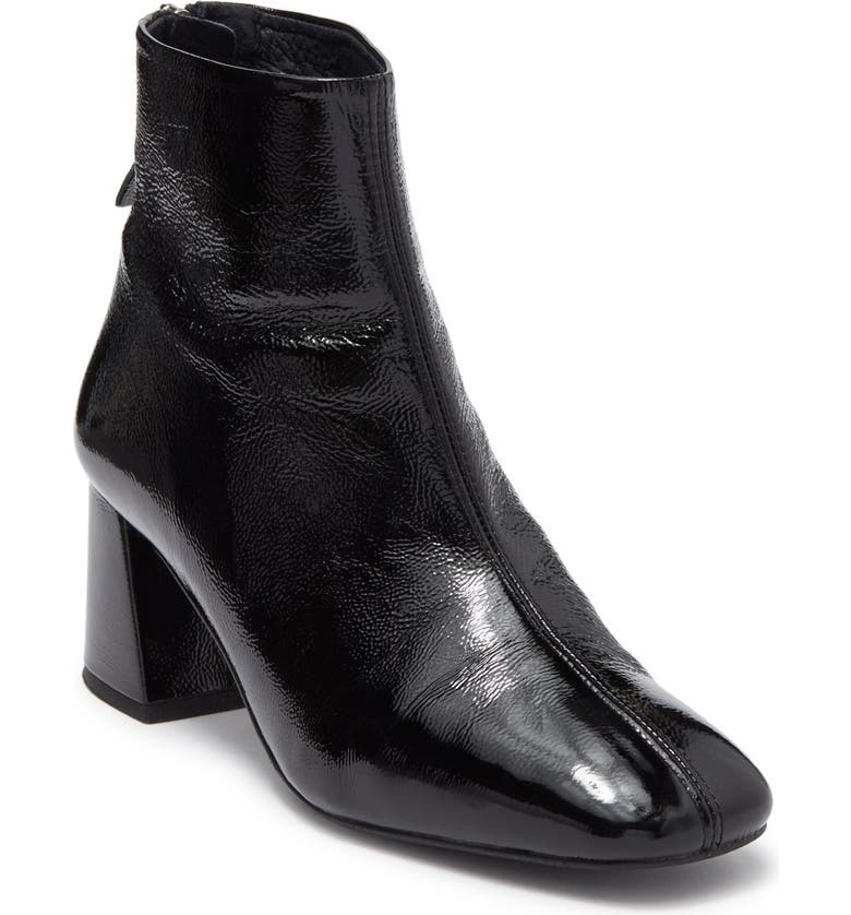 TOPSHOP 'Maggie' Flared Heel Bootie, Main, color, BLACK LEATHER