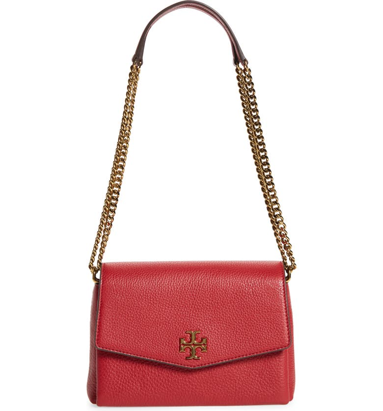 TORY BURCH Small Kira Leather Convertible Crossbody Bag, Main, color, REDSTONE