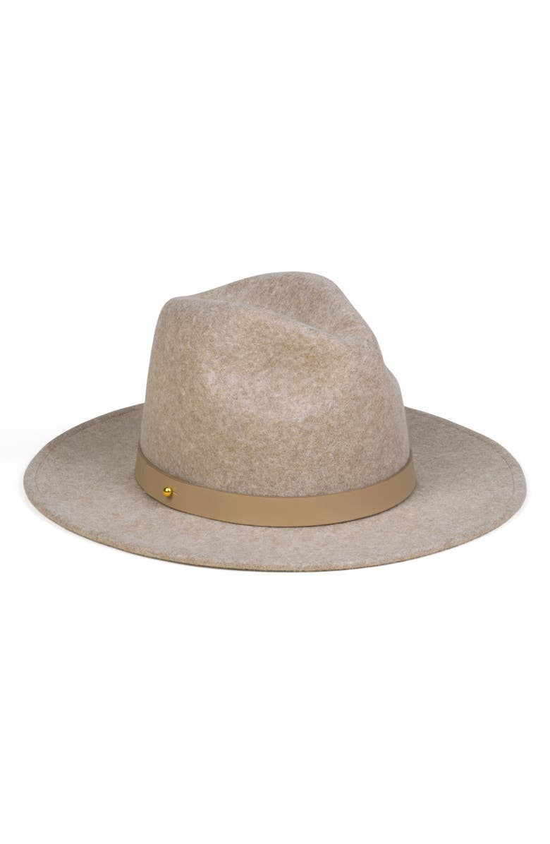 LACK OF COLOR Carlo Mack Wool & Leather Fedora, Main, color, SPECK BROWN