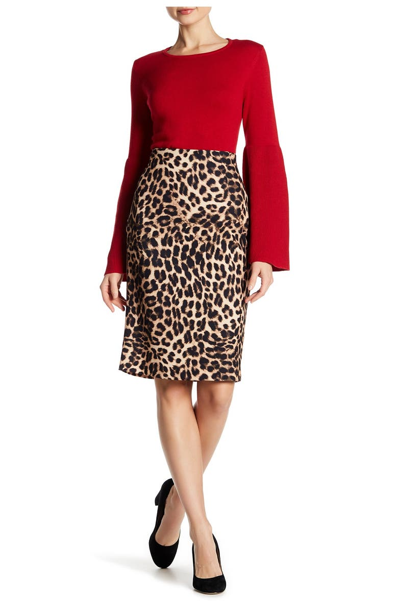 VINCE CAMUTO Animal Print Pencil Skirt, Main, color, 060