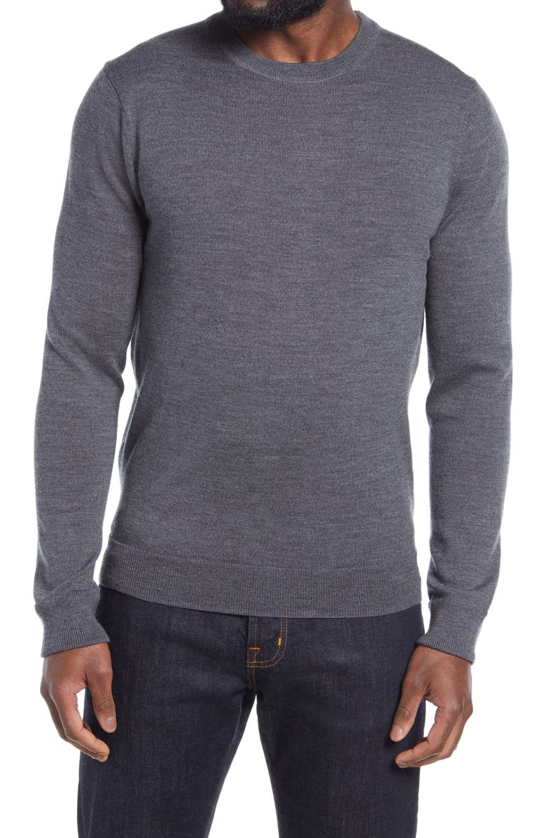 NORDSTROM Washable Merino Crewneck Sweater, Main, color, GREY MAGNET HEATHER