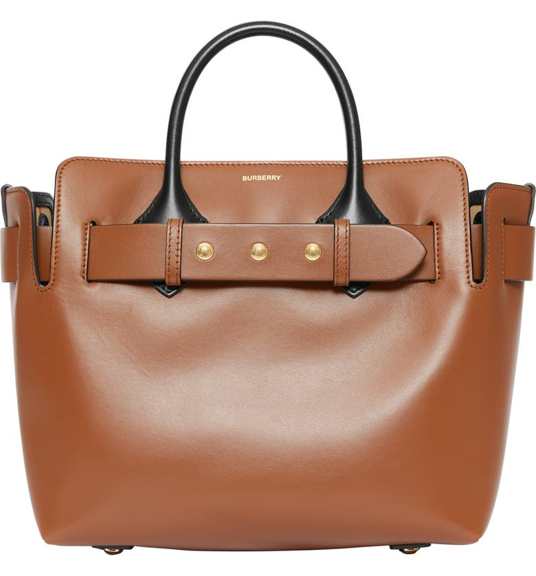 BURBERRY Small Triple Stud Leather Belt Tote, Main, color, 200