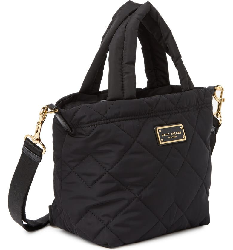 MARC JACOBS Quilted Nylon Mini Tote Bag, Main, color, BLACK