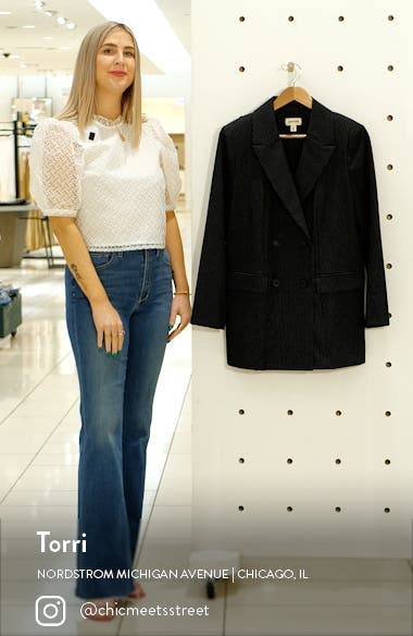 Pinstripe Double Breasted Blazer, sales video thumbnail