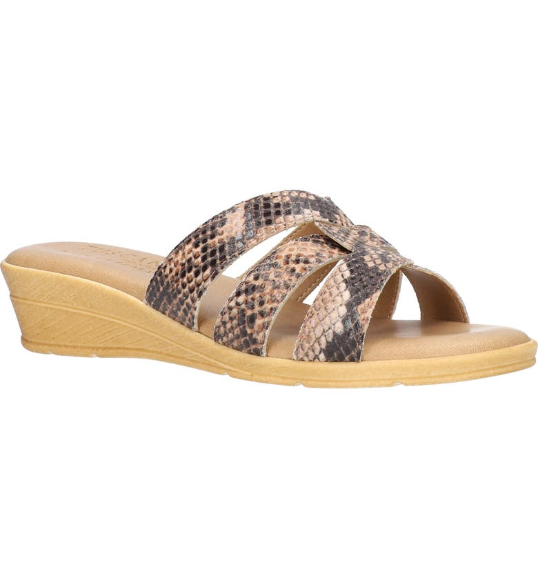 TUSCANY BY EASY STREET<SUP>®</SUP> Tazia Wedge Slide Sandal, Main, color, NATURAL SNAKE FAUX LEATHER
