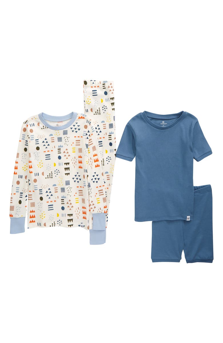 HONEST BABY Kids' 2-Pack Organic Cotton Fitted Two-Piece Pajamas, Main, color, MULTI COLORED PATTERN PLAY