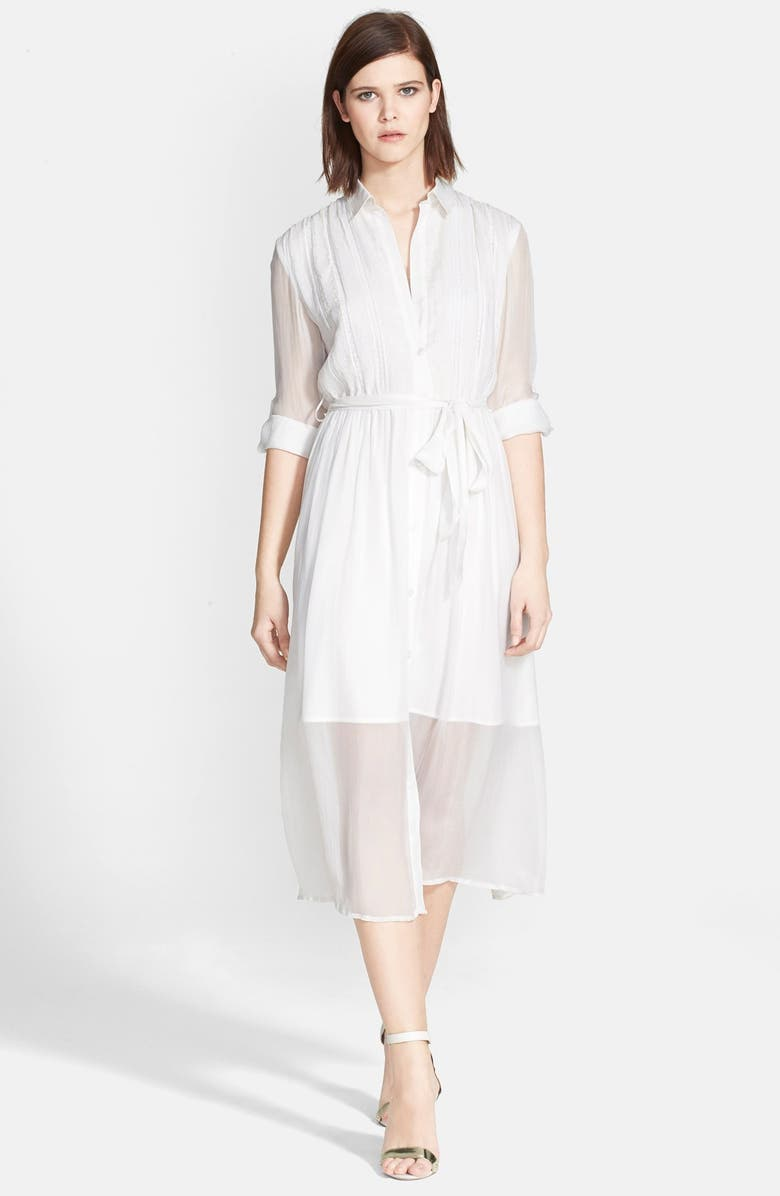 ALICE + OLIVIA 'Maia' Belted Shirtdress, Main, color, OFF WHITE