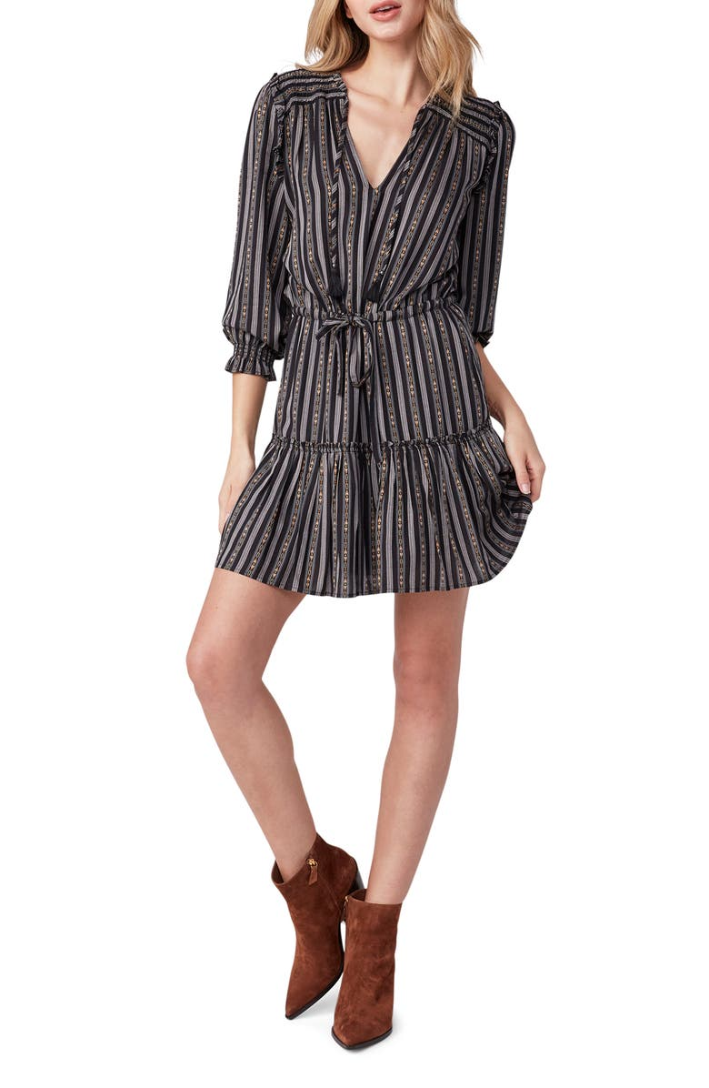 PAIGE Kaylynn Stripe Tie Neck Ruffle Dress, Main, color, BLACK MULTI