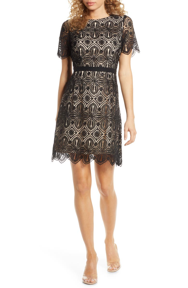 CHELSEA28 Embroidered Lace A-Line Dress, Main, color, 001