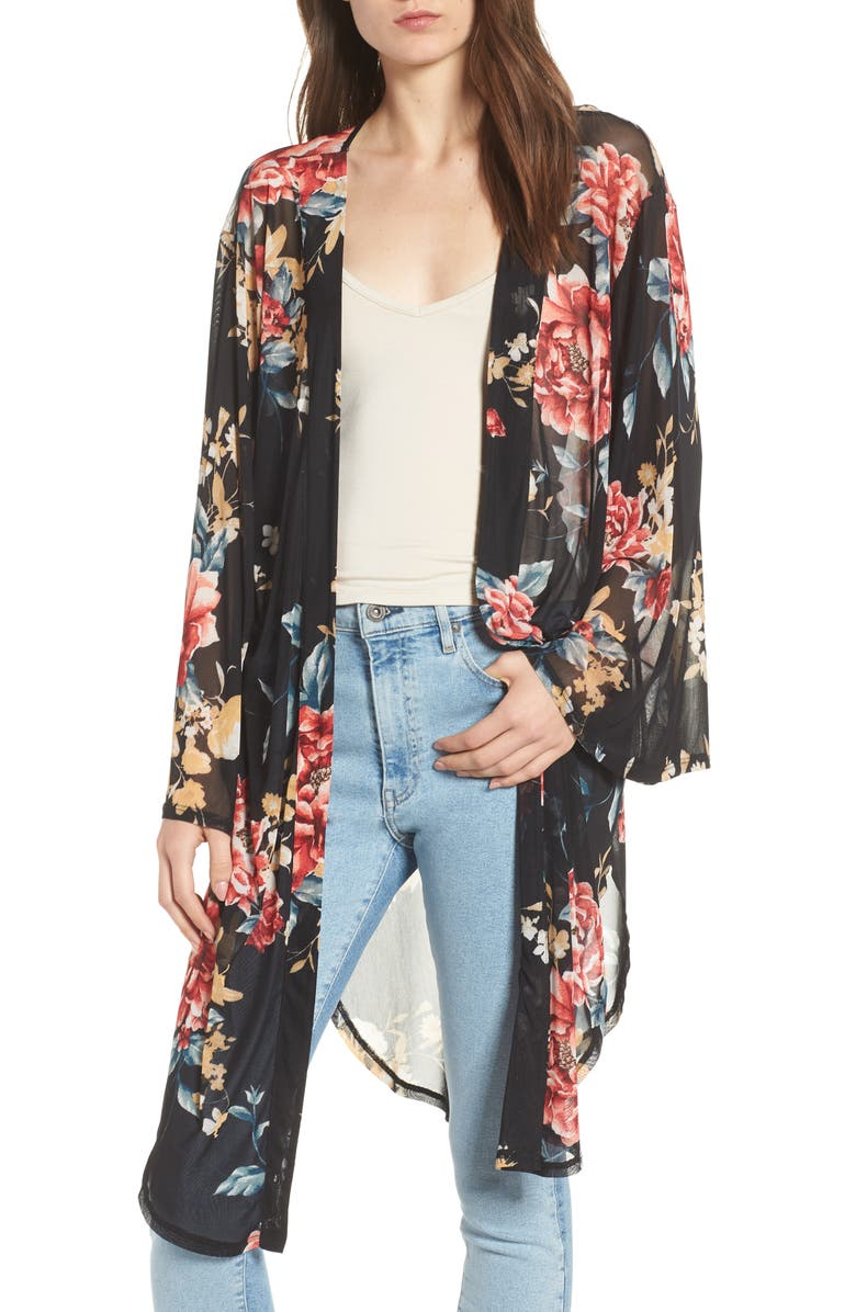 BAND OF GYPSIES Floral Kimono, Main, color, BLACK GROUND RED FLORAL
