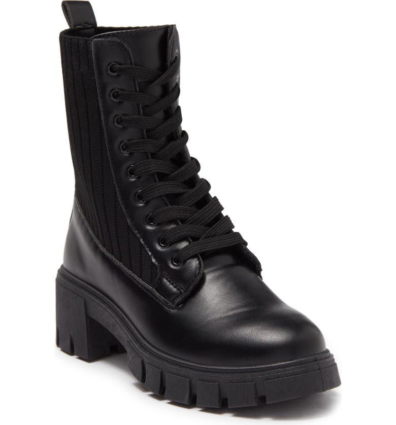 TOP GUY Maddie Knit Shaft Lace-Up Boot, Main, color, BLACK
