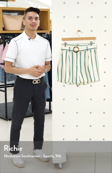 Belted Stripe Twill Shorts, sales video thumbnail