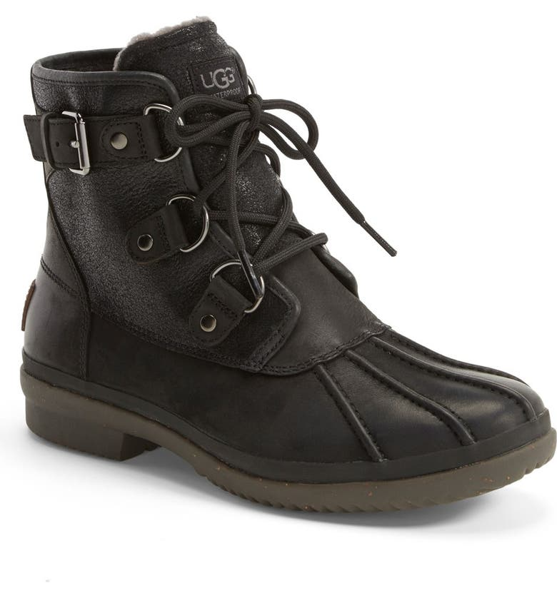 UGG<SUP>®</SUP> Cecile Waterproof Boot, Main, color, BLACK LEATHER