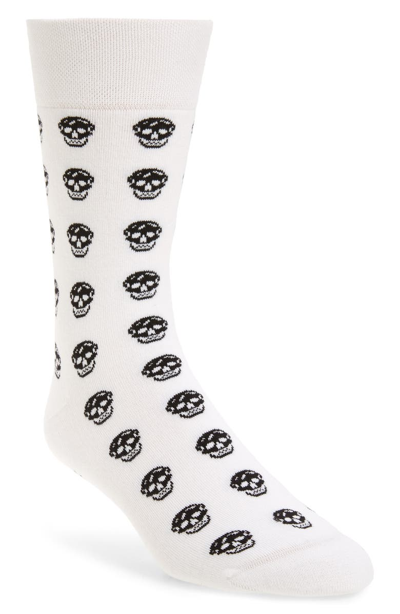 ALEXANDER MCQUEEN Skull Short Socks, Main, color, WHITE/ BLACK