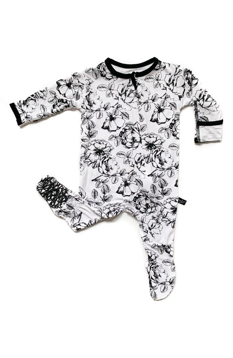 PEREGRINE KIDSWEAR Floral Fitted One-Piece Pajamas, Main, color, BLACK/WHITE