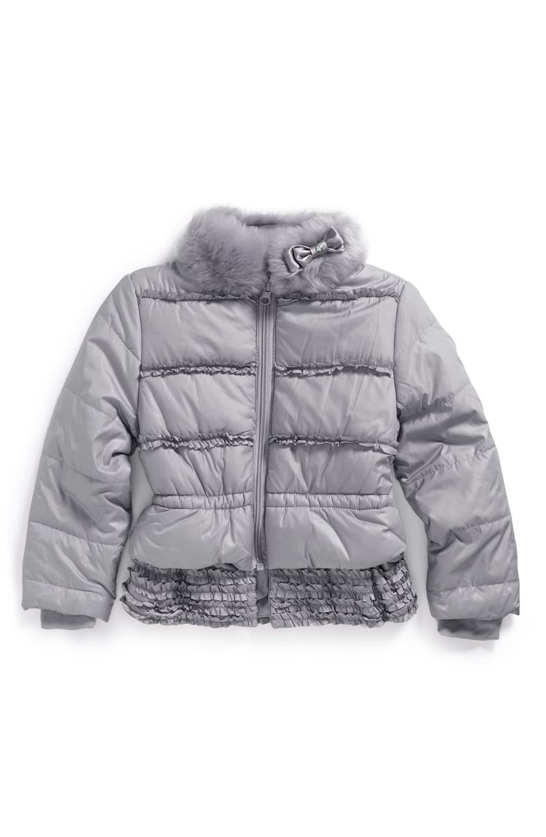 KATE MACK Puffer Jacket with Faux Fur Collar, Main, color, 020