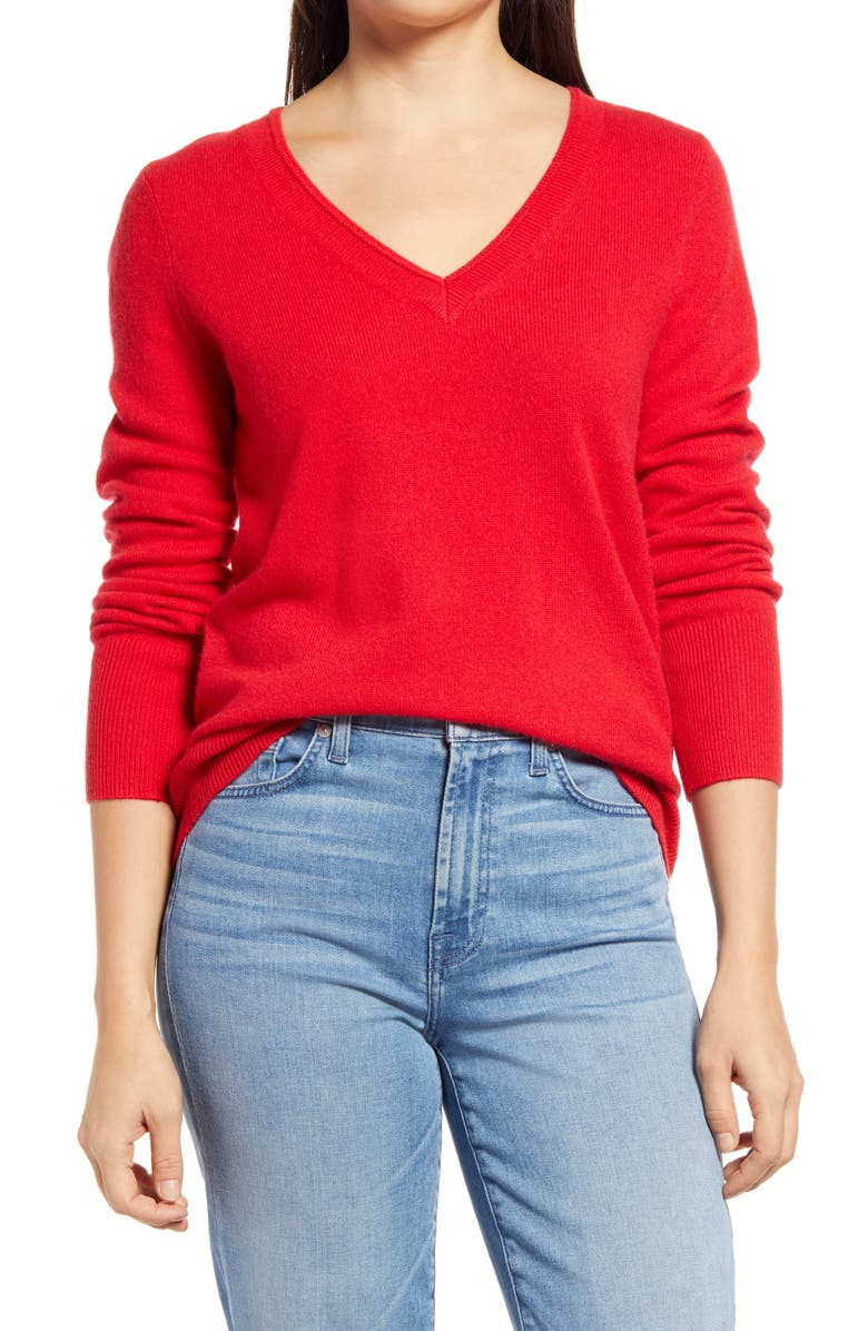 HALOGEN<SUP>®</SUP> V-Neck Cashmere Sweater, Main, color, RED CHINOISE