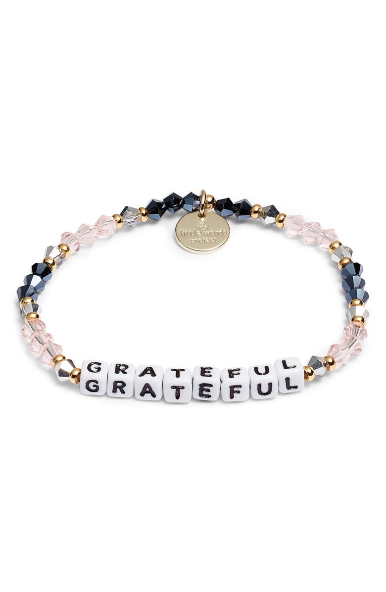 LITTLE WORDS PROJECT Grateful Beaded Stretch Bracelet, Main, color, BELLE GOLD