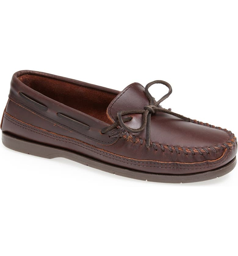 MINNETONKA Double Sole Moccasin, Main, color, BROWN