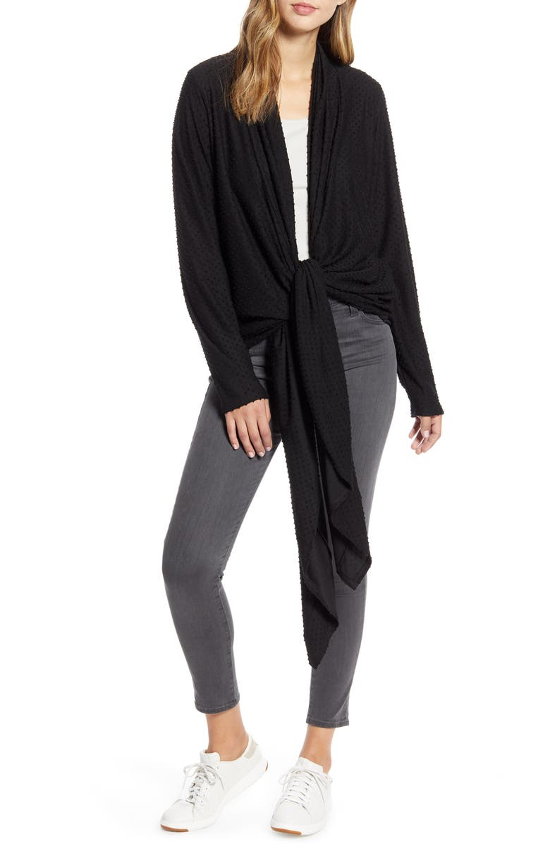 LOVEAPPELLA Drape Tie Front Cardigan, Main, color, 001