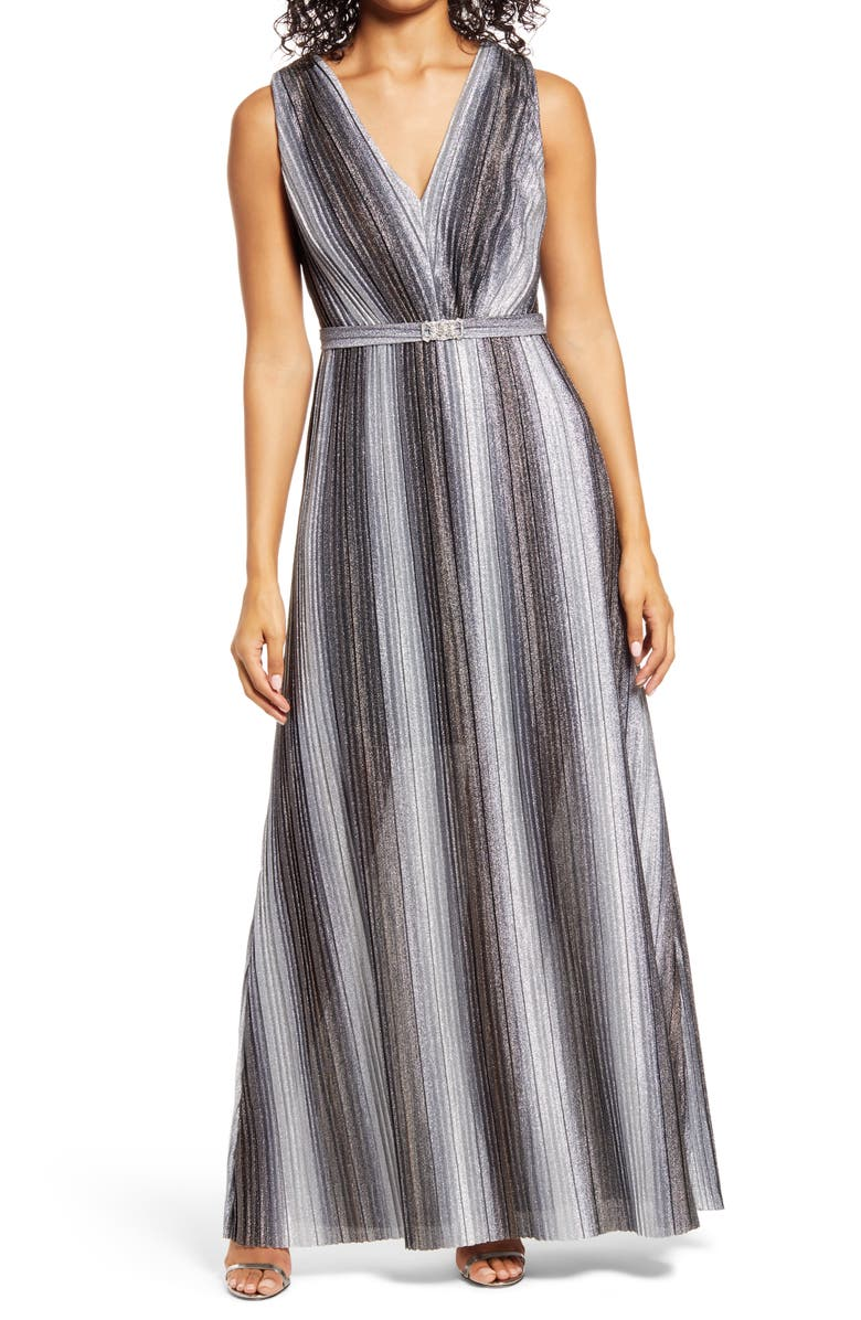 VINCE CAMUTO Metallic Stripe Sleeveless V-Neck Gown, Main, color, 040
