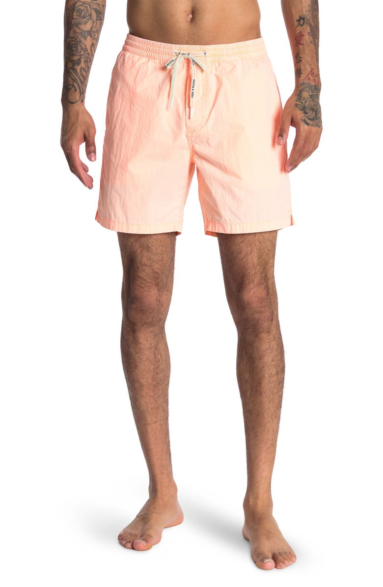 SCOTCH AND SODA Solid Mid-Length Regular Fit Swim Shorts, Main, color, FLUO ORANGE